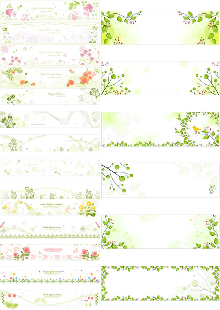 Horizontal Flower Banners - Stock Vectors