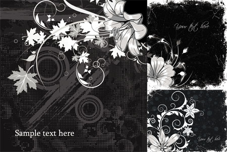 Black and White Flower Backgrounds - Stock Vectors