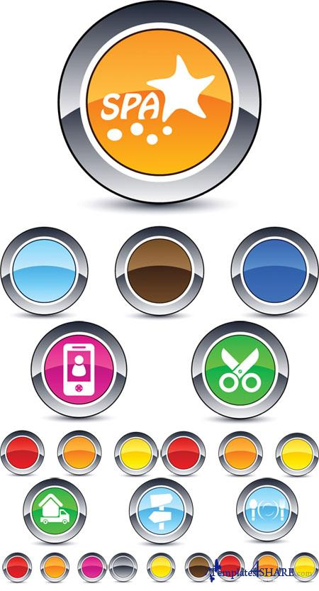 Glossy Round Web Vector Buttons