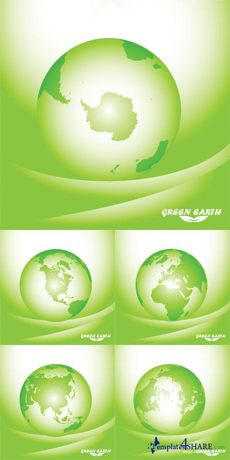 Green Earth Globe Vectors
