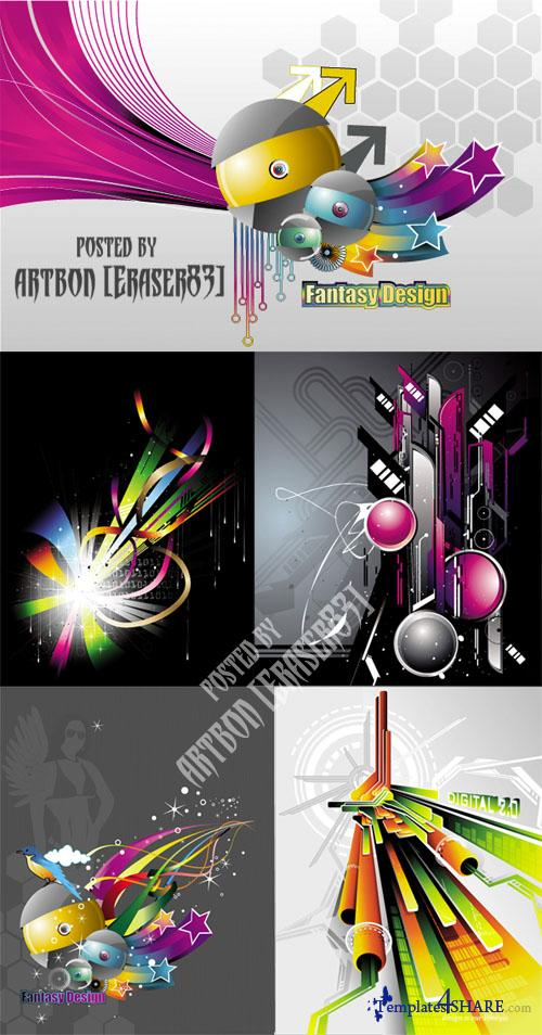 Techno Style Vector Backgrounds
