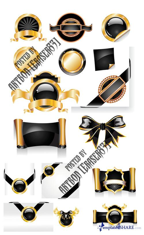 Black and Gold Vector Design Elements