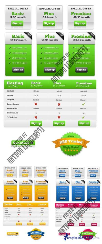 Web Pricing Table Package (PSD Template)