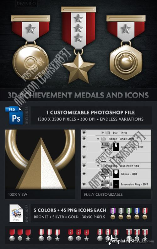3D Achievement Medals and Icons - PSD Template (GraphicRiver)