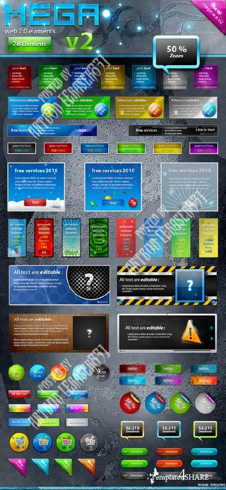 Mega Web Elements v.2 - PSD Template (GraphicRiver)