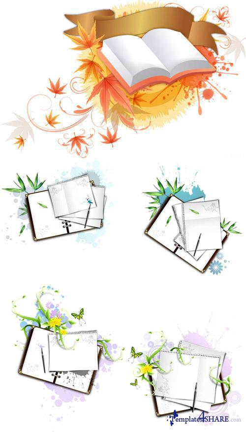 Books and Notebooks Vector Clipart