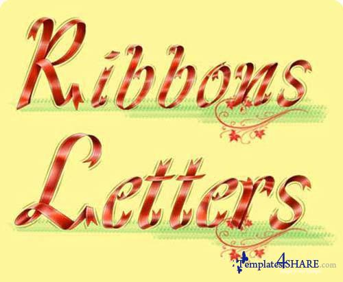 Alphabet Ribbon Letters - PSD Template