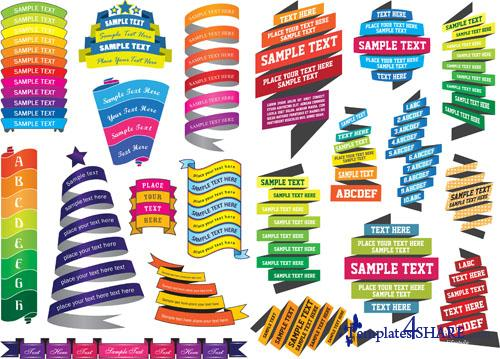 Colorful Vector Ribbons and Banners