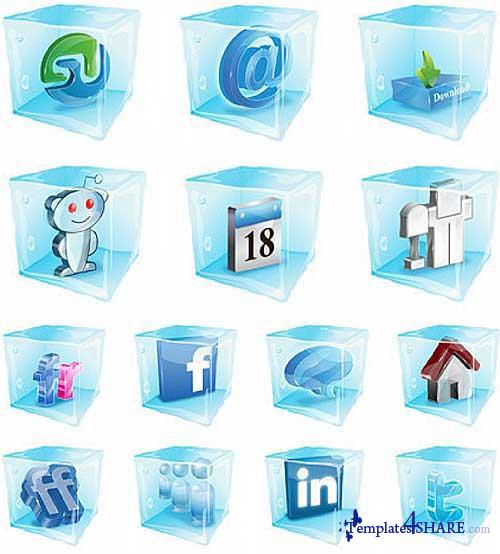 Social Ice Cubes Vector Icons