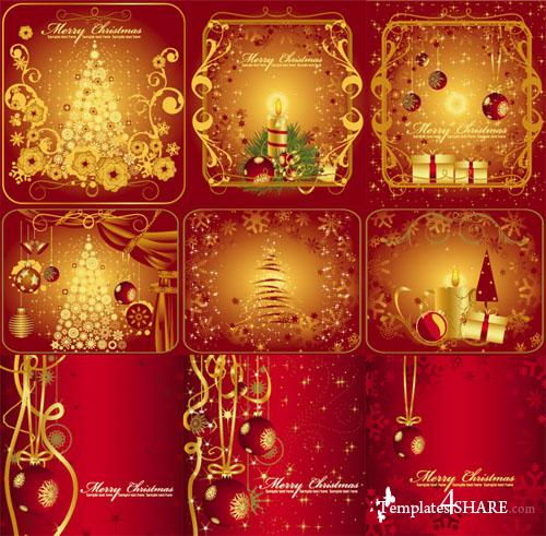 Gold Design Christmas Greeting Cards