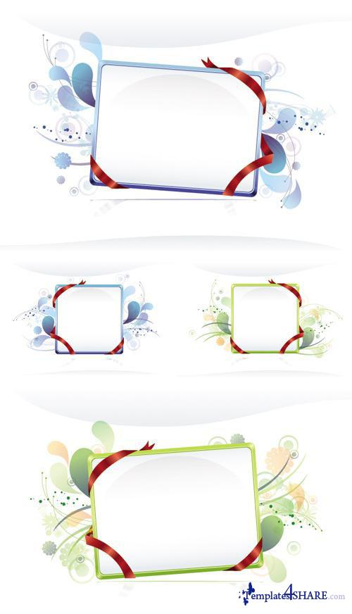 Holiday Frames and Ribbons Vector