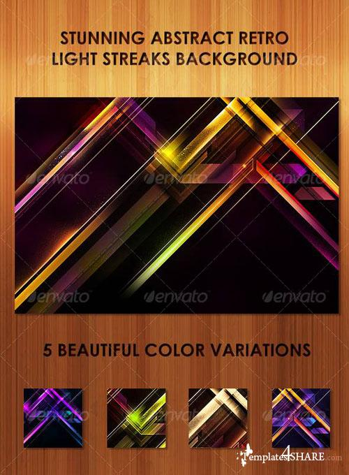Abstract Retro Light Streaks Background - PSD Template