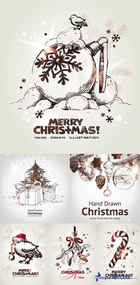 Hand Drawn Christmas Vector Cards