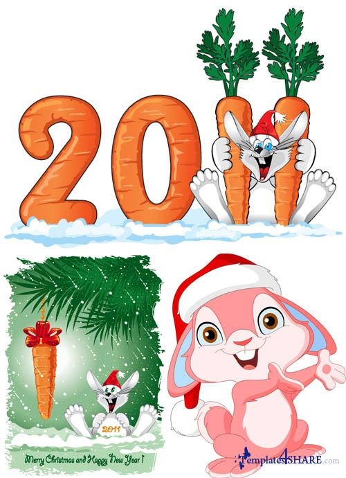 New Year Rabbit 2011 - Vector Clipart