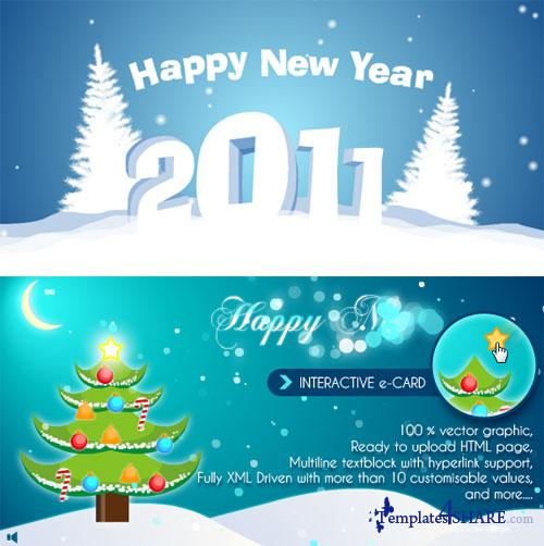 ActiveDen - Cool Interactive Christmas Card and 2011 New Year Flash Animation