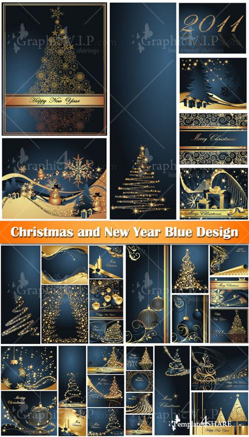 Christmas and New Year Blue Design - Stock Vectors