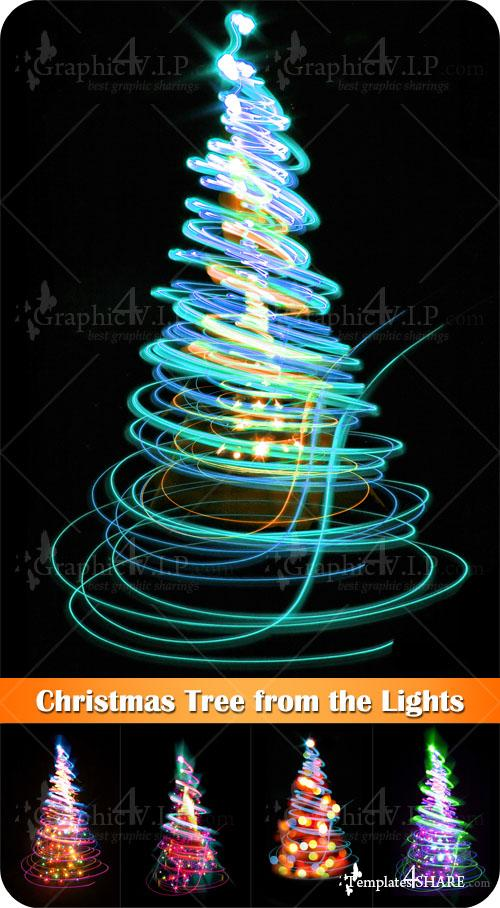 Christmas Tree from the Lights - Stock Photos
