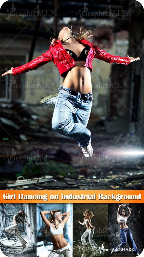 Girl Dancing on Industrial Background - Stock Photos