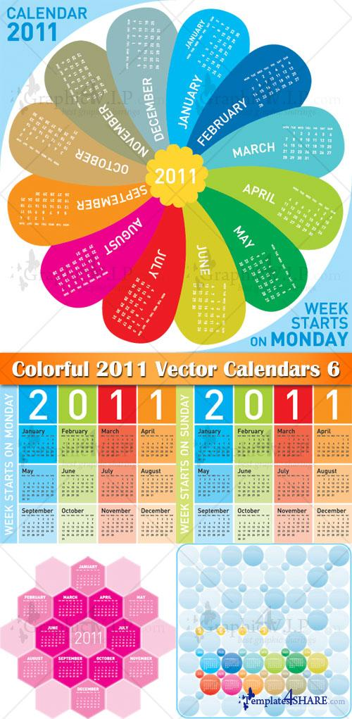 Colorful 2011 Vector Calendars 6 - Stock Vectors