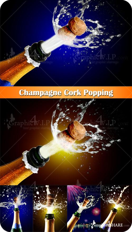 Champagne Cork Popping - Stock Photos