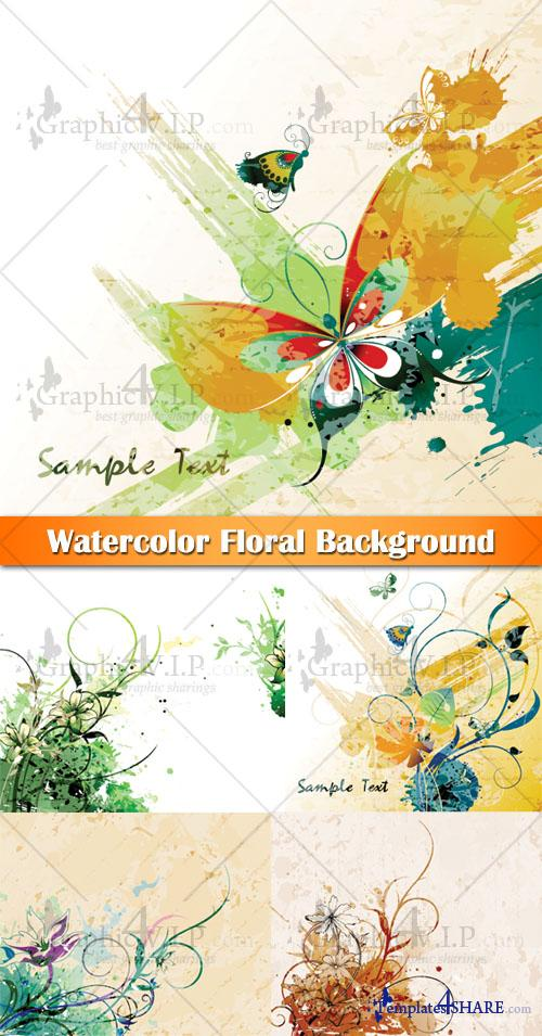 Watercolor Floral Background - Stock Vectors