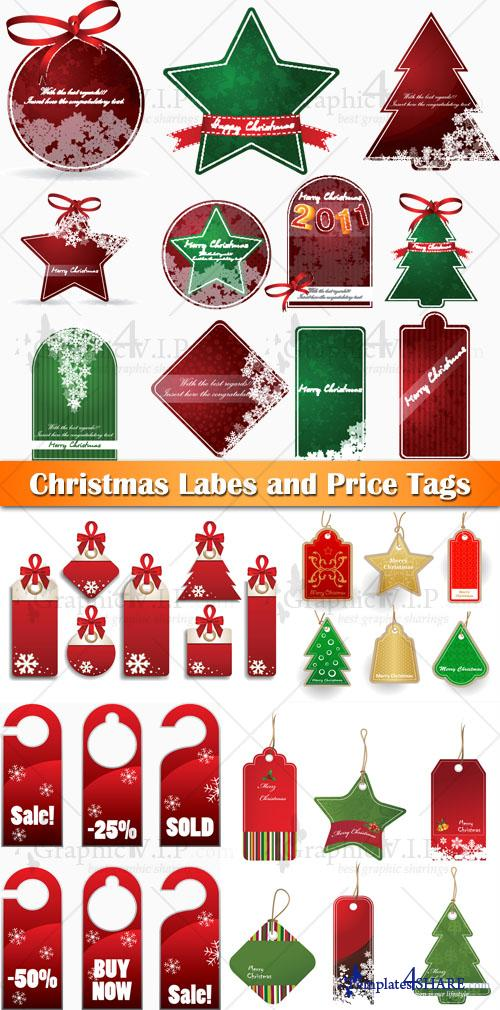Christmas Labes and Price Tags - Stock Vectors