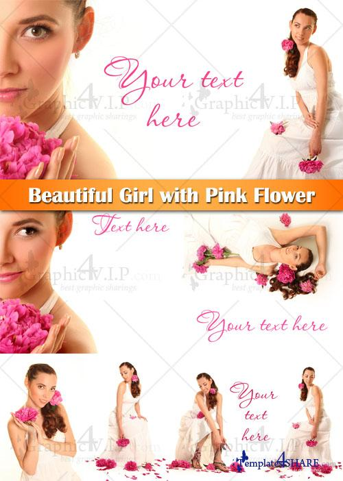 Beautiful Girl with Pink Flower - Stock Photos
