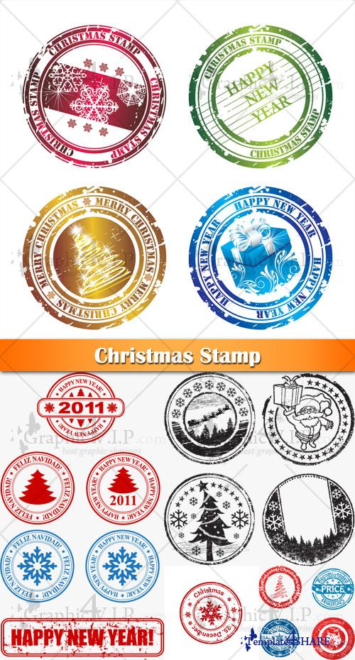 Christmas Stamp - Stock Vectors