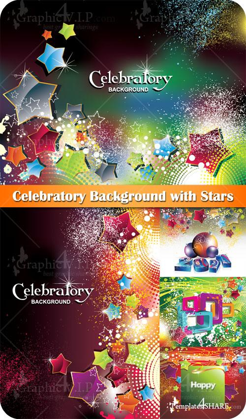 Celebratory Background with Stars - Stock Vectors