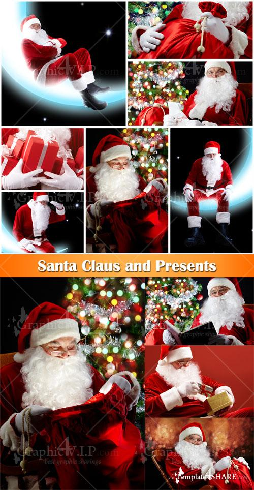 Santa Claus and Presents - Stock Photos