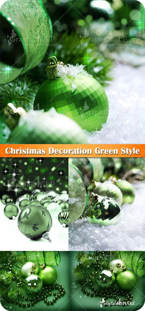 Christmas Decoration Green Style - Stock Photos