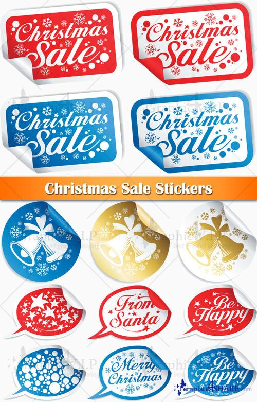 Christmas Sale Stickers - Stock Vectors