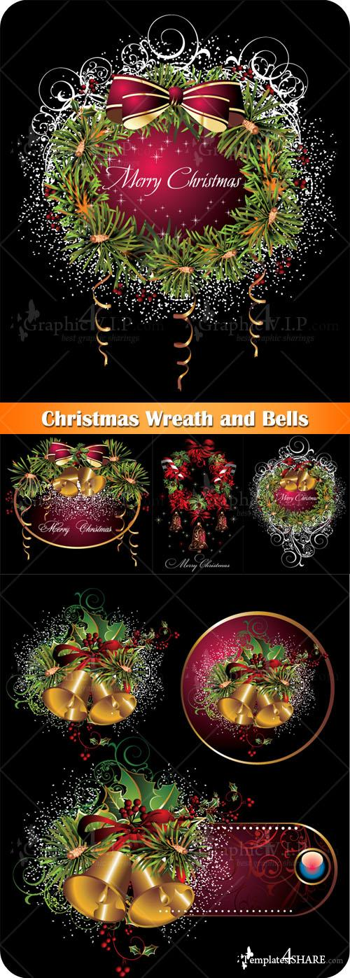 Christmas Wreath and Bells - Stock Vectors