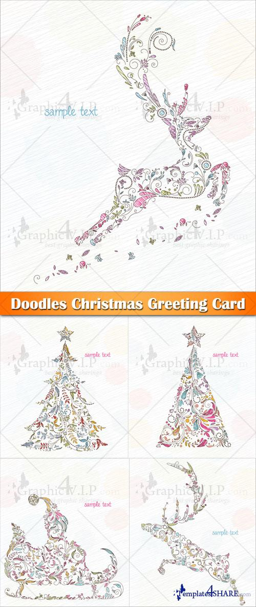 Doodles Christmas Greeting Card - Stock Vectors