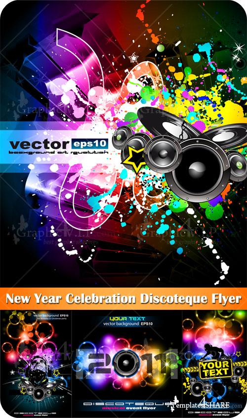 New Year Celebration Discoteque Flyer - Stock Vectors