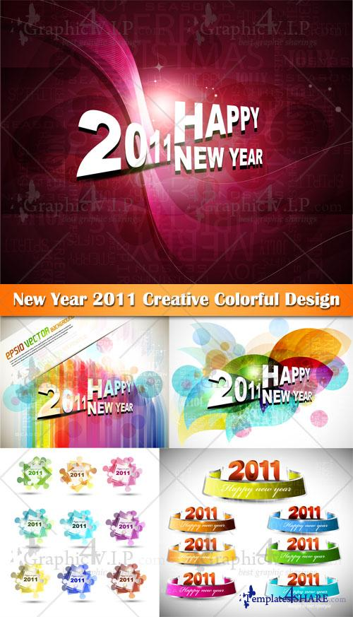 New Year 2011 Creative Colorful Design - Stock Vectors
