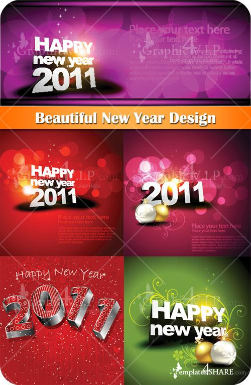 Beautiful New Year Design - Stock Vectors