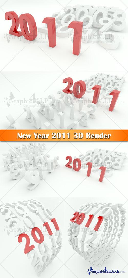 New Year 2011 3D Render - Stock Photos