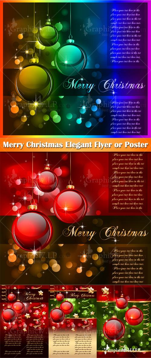 Merry Christmas Elegant Flyer or Poster - Stock Vectors