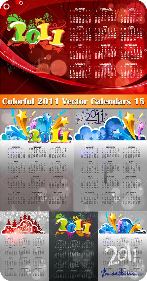 Colorful 2011 Vector Calendars 15 - Stock Vectors