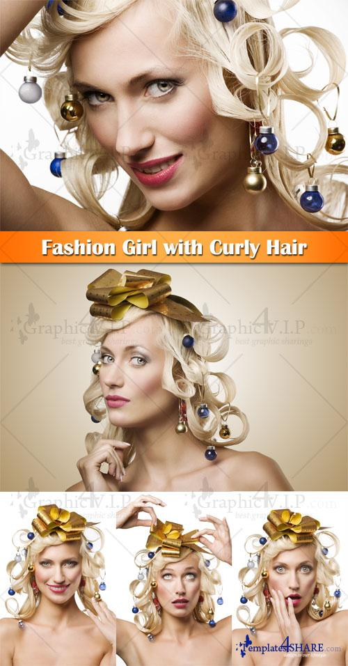 Fashion Girl with Curly Hair - Stock Photos
