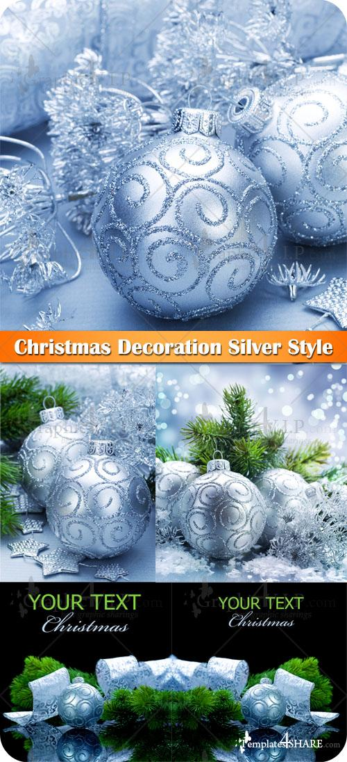 Christmas Decoration Silver Style - Stock Photos