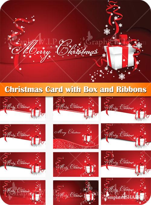 Christmas Card with Box and Ribbons - Stock Vectors