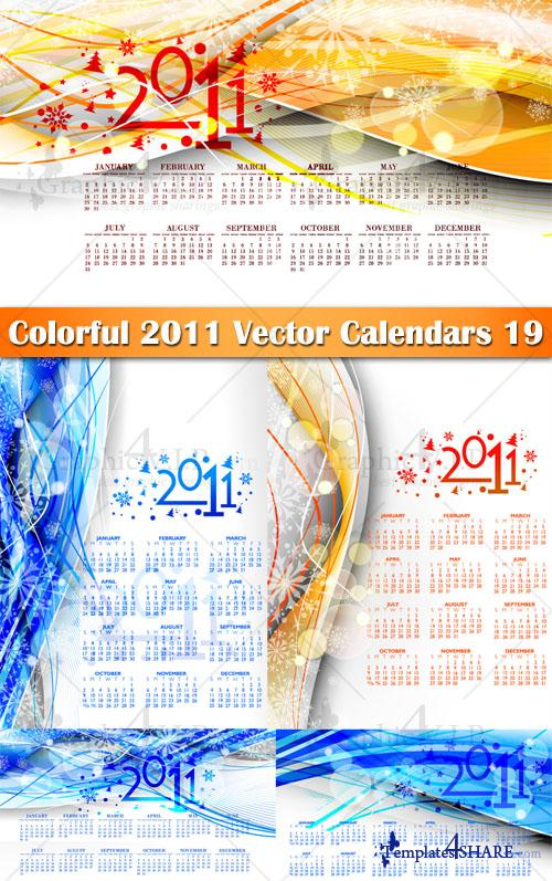 Colorful 2011 Vector Calendars 19 - Stock Vectors