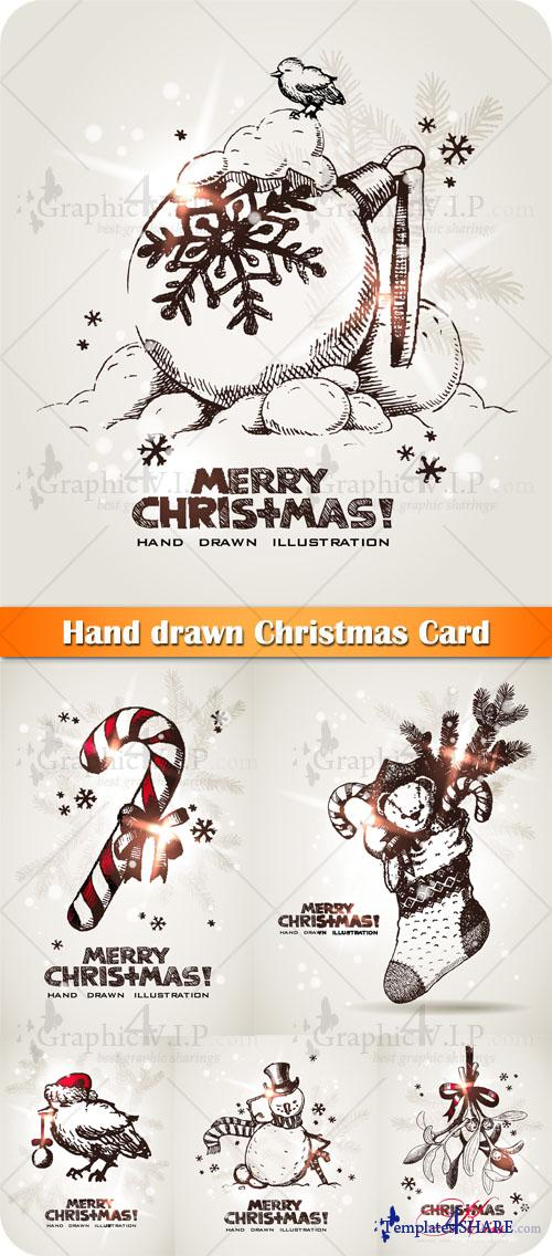 Hand drawn Christmas Card - Stock Vectors