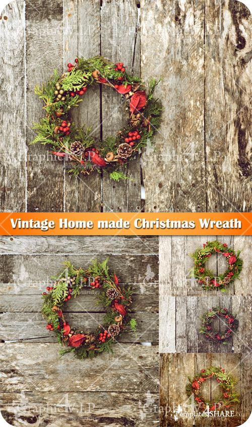 Vintage Home made Christmas Wreath - Stock Photos