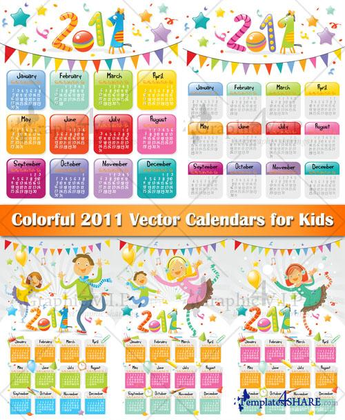 Colorful 2011 Vector Calendars for Kids - Stock Vectors