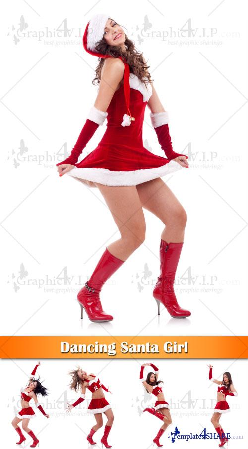 Dancing Santa Girl - Stock Photos