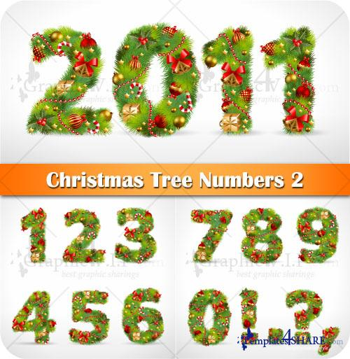 Christmas Tree Numbers 2 - Stock Vectors