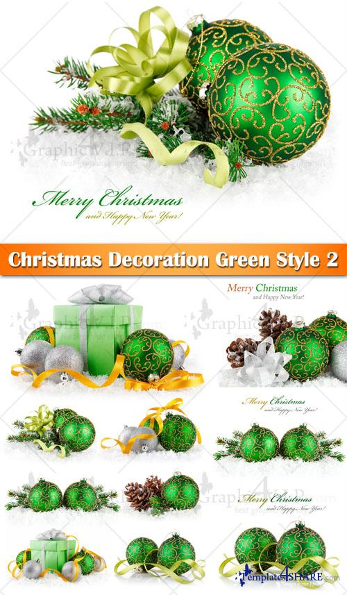 Christmas Decoration Green Style 2 - Stock Photos